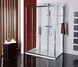 Cabina de ducha 150 x 90 cm, mampara 150 x 90 x 200 cm (BxH), Puerta corredera con aspecto templado de pared, 3 piezas, 8/6 mm, Elox: Amazon.es: Bricolaje y herramientas