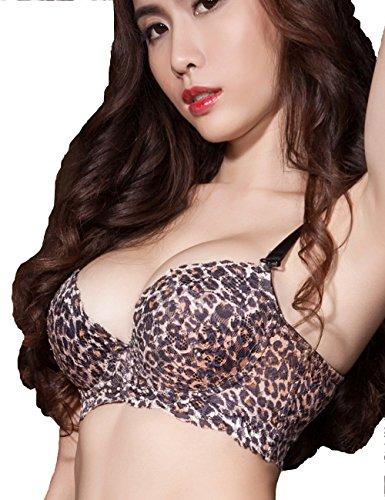 Nasse Women's Sexy Leopard Bra Memory Foam Full Coverage Minimizer Lace Bralette (38C, Leopard)