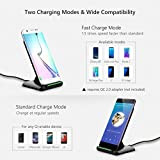 Fast Wireless Charger, [2017 Upgraded Version]Pictek Wireless Charging Stand Qi Charger with PowerPort 10W for iPhone X / 8 / 8 Plus, Samsung S8 / S8 Plus / S7 / S7 Edge, S6 / S6 Edge/ S6 Edge Plus, Note 5, Other Qi-Enabled Devices