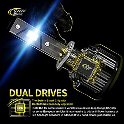 Cougar Motor H3 LED Headlight Bulbs, 10000Lm 6K Xenon White All-in-One Conversion Kit: Automotive