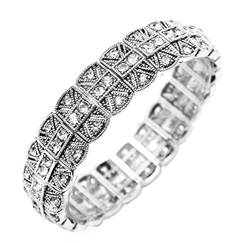 Style Bracelet Antique (Rosemarie Collections Women's Deco Style Rhinestone Statement Stretch Bracelet (Antique Silver))