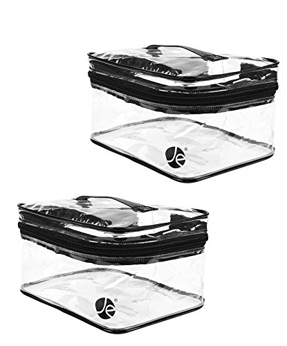 [2 PACK], JAVOedge Medium Train Case Clear PVC Vinyl Multipurpose Cosmetic Makeup Packing Carry On Bag