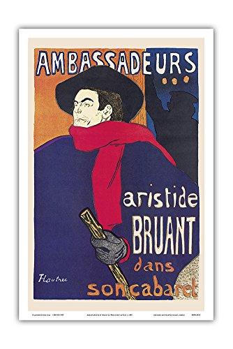 Ambassadeurs: Aristide Bruant dans son Cabaret (Ambassadors: Aristide Bruant in his Cabaret) - Art Nouveau - Vintage Theater Poster by Henri de Toulouse-Lautrec c.1892 - Master Art Print - 12in x 18in ()