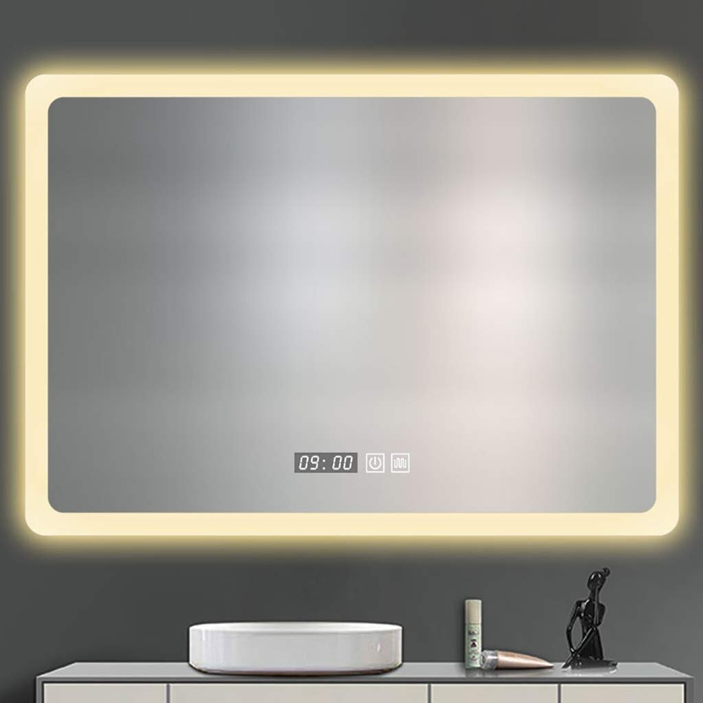 Beauty mirror LED Bathroom Mirror Illuminated Anti-fogging Bathroom Wall Mirror with Touch Switch,5MM Explosion-Proof Mirror White Warm Light Rectangle Washroom Toilet Makeup Mirror Dressing mirror by Makeup Mirrors