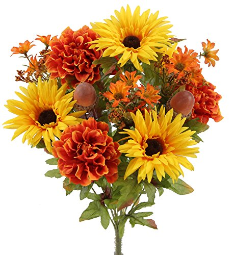 Admired By Nature GPB6434-GD_OR 4 Piece 14 Stems Home office/Wedding/Restaurant Decoration Arrangement Artificial Gerbera Daisy/Marigold/Acorn Mixed Flowers Bush, (Gerbera Daisy Bush)