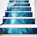 "ChezMax 3D Scenery Pattern Stair Risers Stickers Set Staircase Decals Removable Waterproof Mural Wallpaper for Home Decoration 7.1""x 39.4"" Blue Night Sky 6 Pcs"