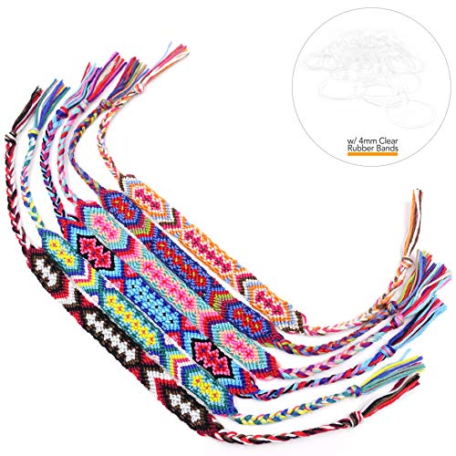 Friendship Handmade Cords 6PCS Multi Color Woven Braid Strand Braided Thread for Hair Ponytail Bracelet Anklet with Clear Rubber Bands by Tidawave ()