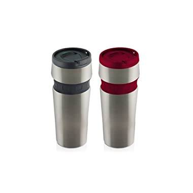 Hamilton Beach Mini Stainless Contour Grip Travel Mug Set (2 Pack), 12 oz, Black/Red  - MCG2 - 482