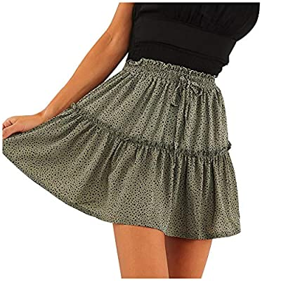 Excursion Clothing Women's Dot Print High Waist Drawstring Ruffle Flared Boho Elegant A-Line Pleated Skater Mini Skirt