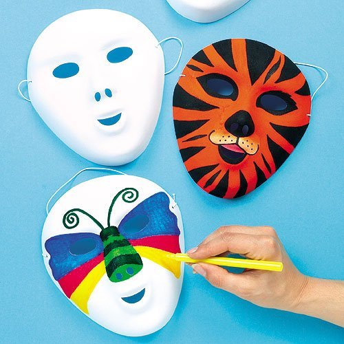 Baker Ross Decorate Your Own Mask (Pack of 8) White Flocked Face Masks for Kids to Decorate ()