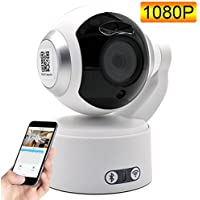 1080P Wireless Bluetooth Speaker IP Security Camera, Remote Control Home Video Monitoring Camera with Night Vision, Pan/Tilt, Two -Way Audio, Motion Detection