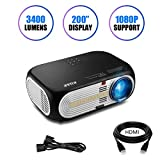 1080 Projector Screen - Projector, KUAK HT60 Portable Home Theater Video Projector, 3400 Lumens 5