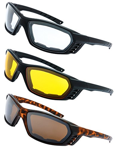 3 Pairs Motorcycle Riding Glasses Padded Frame Lense Block 100% UVB for Outdoor Activity Sport (6-Matte Black/Tortoise, Clear, Yellow, Brown)