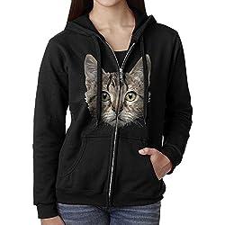 Womens Fashion Zip Up Hoodie Poly Cat Sweatshirt Jacket Black