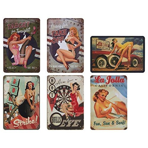 Juvale 6-Piece Tin Signs - Vintage Style Metal Signs As Wall Decor, Decorative Coffee Bar Sign, Sexy Ladies, 11.8 x 8 Inches