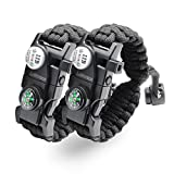 LeMotech 20 in 1 Adjustable Paracord Survival Bracelet, Tactical Emergency Gear Kit Includes SOS LED Flashlight, Compass, Rescue Whistle and Fire Starter-Outdoor Hiking Camping