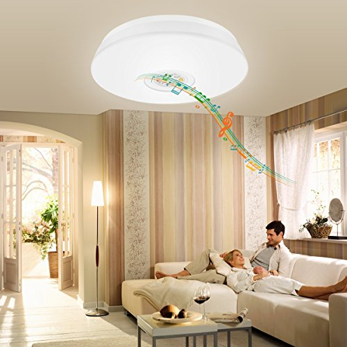 LE 24W Dimmable LED Music Ceiling Lights with Bluetooth Speaker, Cellphone APP Control, RGBW,3000K-6000K Color Temperature, 1500lm, Equal 180W Incandescent/50W Fluorescent, Flush Mount Light by Lighting EVER (Image #6)