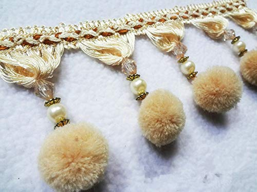 - 1M Trim Plush Ball Beaded Crafts Curtain Fringe Costume Upholstery (Color - Beige)