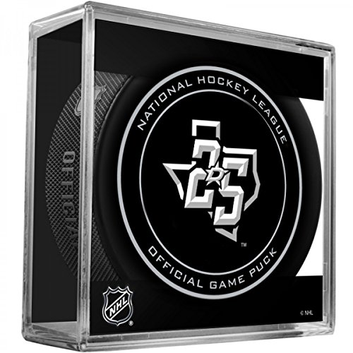 Dallas Stars 25th Anniversary Sherwood Official NHL Game Puck in Cube