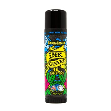 CannaSmack Ink Guard SPF 30 Tattoo Sunscreen & Ink Fade Shield Stick - Protect & Brighten. Prevent Your Tattoos from Fading. Infused with Hemp Seed ...