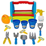 Liberty Imports Rainbow Gardening Tool Box 14pc Garden Tools Toy Set for Kids