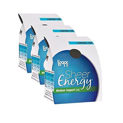 (L'eggs Women`s Set of 3 L`eggs Sheer Energy Control Top ST - Best Seller! Q, Off Black)