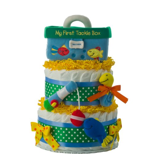 (Diaper Cake - First Tackle Box 2 Tier Diaper Cake by Lil' Baby Cakes)