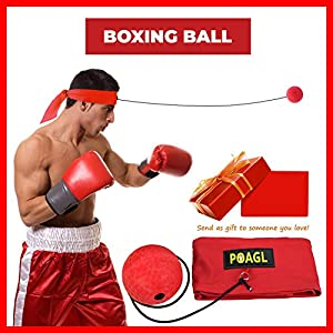 Reflex Boxing Ball on String with Headband for Fight MMA Training Speed Adult/Kids Gift Improve Punch Focus Sport Exercise Practice Fitness Trainer Elastic Head Band Set Cap Hat Puncher by POAGL