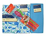 Mother's Day Gifts, Birthday, Graduation, Housewarming, College, Kitchen Towel Set Dish Drying Mat, Mixing Spoons Gift Set 4 Pieces Bundled with Bow Ready to Give Blue MD-02