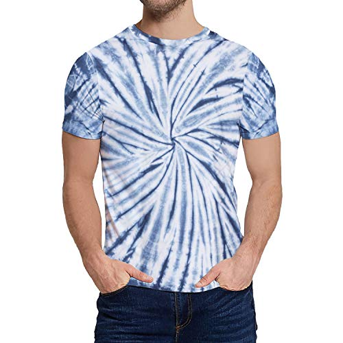 Hippie Tie Dye Tshirt Men - Mens Graphic Twist Navy Dye Tee Shirt (XL)