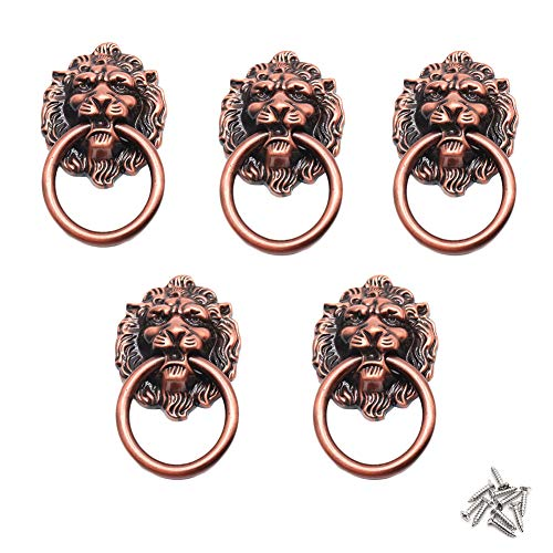 (BTMB Cupboard Cabinet Wardrobe Drawer Lion Head Ring Pull Handle Antique Red Bronze 5pcs)