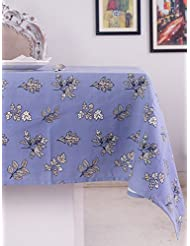 Table Cloth, 100% Cotton, Rectangular Table Cloth of Size 60X84 Inch, Eco - Friendly & Safe, Blue Autmun Leaves Design for Kitchen
