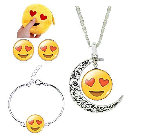 3 Pack Funny Emoji Necklace & Bracelet & Earrings Emoji Jewelry Set for Women Girls Kids Party Favors (Double Love)