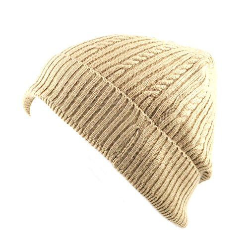 THE HAT DEPOT 200h Unisex Light Weight Chunky Cable Classic Knit Beanie Hat (Khaki) (Lightweight Cap Classic)