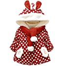 C.Cute Baby Girls Dot Rabbit Infant Winter Hoodies Jackets Coats With Scarf