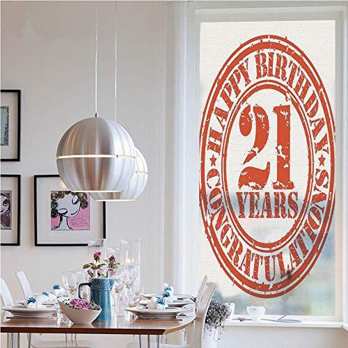 RWNFA Window Decal Vinyl Glass Cling,Logo Icon Vintage Happy Birthday Congratulations Party Image(19.7