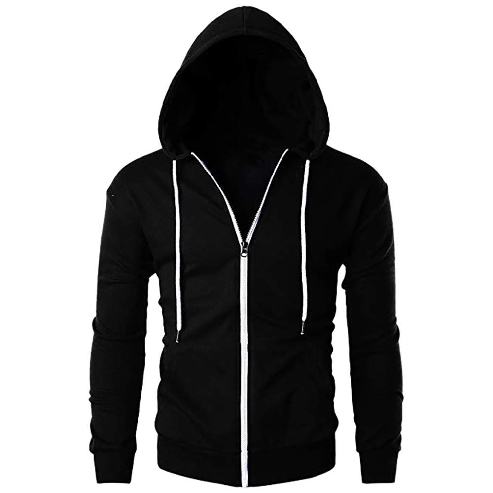 Mens Casual Slim Fit Long Sleeve Zipper Hoodie with Pocket Outwear Blouse