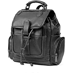 Claire Chase Small Uptown Leather Laptop Backpack in Black