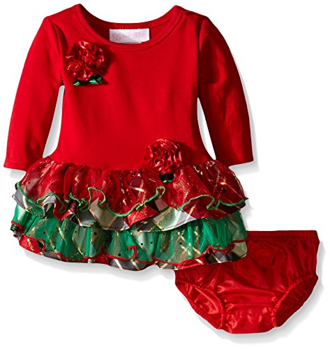 (Bonnie Baby Baby-Girls Knit Dropwaist To Mesh and Taffeta Plaid Tiers, Red, 3-6 Months)