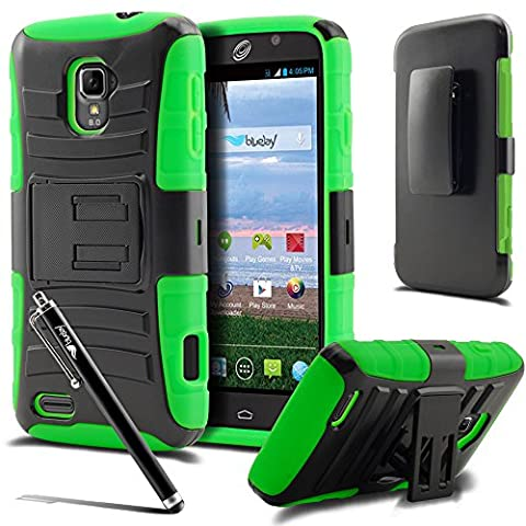 ZTE Rapido LTE Case, [The BlueJay Brand] Rugged Holster Case with Kickstand and Belt Swivel Clip For ZTE Rapido LTE Z932 (Straight Talk) + BlueJay Universal Stylus Pen, (Zte Rapido Phone Cases)