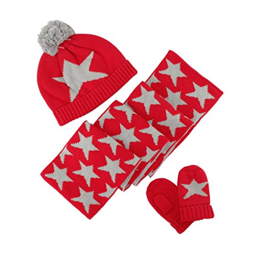 3 Pack Baby Fleece Hat Set Little Girls Boys Hat+Mitten+Scarf Set Winter Warm Hat Knit