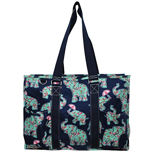 N. Gil All Purpose Organizer 18'' Large Utility Tote Bag 3 (EPN Elephant Navy Blue) by N.Gil