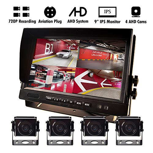 9″ AHD Truck Parking Backup System & Built-in DVR Surveillance IPS Screen 4 Cameras 4-Channel Separate 720P HD Recording for Truck Bus Trailer Motorhome 12V-24V No-Light Night Vision 4-PIN Shockproof