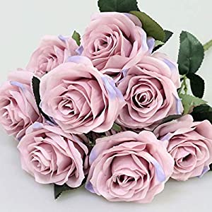 Artificial Silk Fake Flowers Rose Floral Decor Bouquet- 10 Heads Fake Flowers for Decoration in Vase- Silk Flowers in Vase for Home Decor- Dusty Rose Silk Flowers- Bunch Roses (Lilac Pink) 1