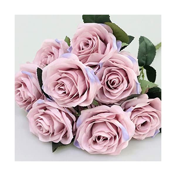 Artificial Silk Fake Flowers Rose Floral Decor Bouquet- 10 Heads Fake Flowers for Decoration in Vase- Silk Flowers in Vase for Home Decor- Dusty Rose Silk Flowers- Bunch Roses (Lilac Pink)