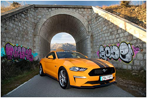 - Ford Mustang GT Fastback by Performance Parts (2019) Car Print on 10 Mil Archival Satin Paper Orange/Black Front Side Static View (16