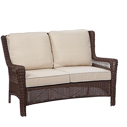 Hampton Loveseat - Hampton Bay Park Meadows Brown Wicker Outdoor Loveseat with Beige Cushion