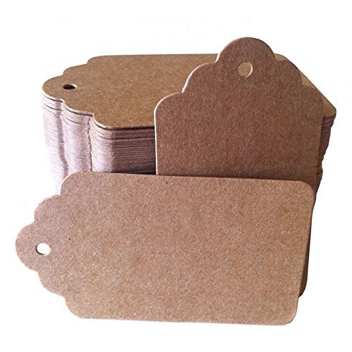 Christmas Gift Tags Brown Kraft Paper Hang Tags Labels with Free Cut Strings for Gifts, Crafts & Price Tags for Wine, Decor, Weddings Scallop Shape (50pcs)