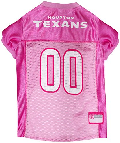 Pets First NFL HOUSTON TEXANS DOG Jersey Pink, X-Small. - Football Pet Jersey in - Texans Houston Dog Collar