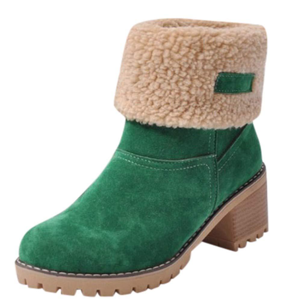 FMWLST Bottes Bottes pour Dames Hiver Chaussures pour Dames Bottes Rondes en Daim Bottes Dames Chaudes en Martin Anti-Ski Extérieures Bottes Courtes en PU 40 7350f2